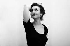 Belle femme en noir et blanc Photo stock