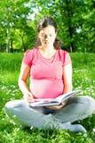 Belle femme enceinte en stationnement Photographie stock