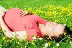 Belle femme enceinte s'étendant sur l'herbe Image stock