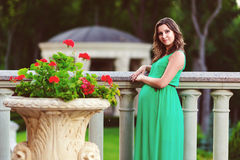 Belle femme enceinte se sentant belle Photographie stock