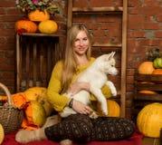 Belle femme heureuse avec le chiot enroué avec la récolte d'automne sur un fond de mur de briques Image libre de droits