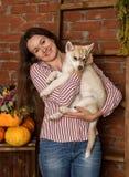 Belle femme heureuse avec le chiot enroué avec la récolte d'automne sur un fond de mur de briques Photo stock