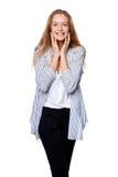 Belle femme heureuse dans l'excitation photos libres de droits