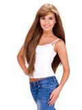 Belle femme indienne de sourire avec de longs cheveux Photographie stock