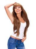 Belle femme indienne de sourire avec de longs cheveux Photographie stock libre de droits