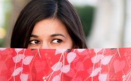 Belle femme indienne derrière un sari Photographie stock libre de droits
