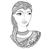 Belle femme indienne tirée par la main dans le style de zentangle Défectuosité de vecteur Photographie stock