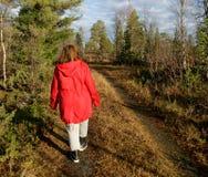 Belle femme marchant près Photos libres de droits
