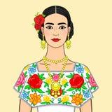 Belle femme mexicaine dans vêtements nationaux D'isolement sur un fond beige illustration libre de droits