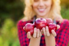 Belle femme moissonnant des pommes, les mangeant Images libres de droits