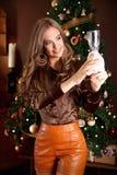 Belle femme pendant la préparation de Noël Photographie stock libre de droits