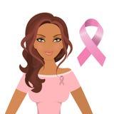 Belle femme portant les rubans roses pour favoriser la conscience du cancer du sein illustration libre de droits
