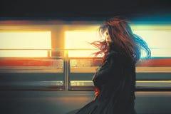 Belle femme se tenant contre les lumières colorées, peinture numérique illustration de vecteur
