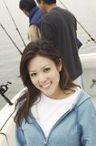 Belle femme sur le yacht Photo libre de droits