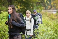Belle femme trimardant avec des amis dans la forêt Photo libre de droits