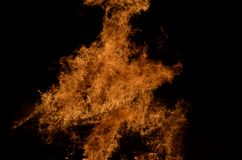 Belle fiamme alte brucianti calde dal falò sul fondo scuro di inverno Fotografia Stock Libera da Diritti