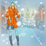 Belle fille à la mode de vecteur sur l'avenue illustration stock