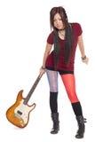 Belle fille asiatique avec la guitare électrique Images libres de droits