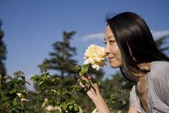 Belle fille asiatique avec une fleur Images stock