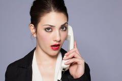 Belle fille au téléphone Images stock
