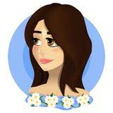 Belle fille avec de grands yeux et cheveux bruns Dans un esprit bleu de robe Image stock