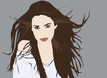 Belle fille avec de longs cheveux déplacés par le portrait de vent illustration de vecteur