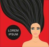 Belle fille avec de longs cheveux noirs Illustration de Vecteur