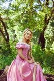 Belle fille avec de longs cheveux tressés dans une tresse, dans le corset et la robe rose magnifique Image stock