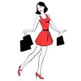 Belle fille avec des achats illustration libre de droits