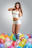 Belle fille avec des baloons Photographie stock libre de droits