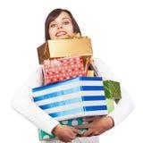 Belle fille avec des cadeaux Photo stock