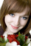 Belle fille avec des fleurs Photos stock