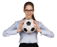Belle fille avec du ballon de football Photo libre de droits