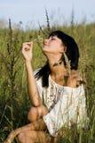 Belle fille avec la fleur Photographie stock