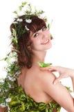 Belle fille avec la fleur et le guindineau. Image stock