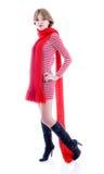 Belle fille avec la longue écharpe rouge Photos stock