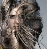Belle fille avec la peau parfaite et le long cheveu Photo libre de droits