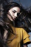 Belle fille avec la peau parfaite et le long cheveu Image stock