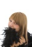 Belle fille avec le boa de plume photographie stock