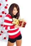 Belle fille avec le cadre de cadeau Image stock
