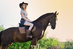 Belle fille avec le cheval de châtaigne dans le domaine de soirée Images libres de droits