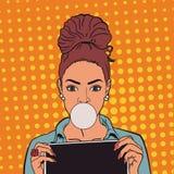 Belle fille avec le chewing-gum et les comprimés Art de bruit ENV 10 illustration stock