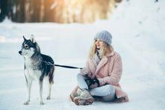 Belle fille avec le chien de traîneau de chien en bois neigeux Photo libre de droits