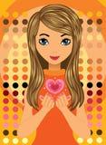 Belle fille avec le coeur d'amour Image stock
