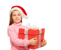 Belle fille avec le grand rouge actuel pour Noël Photo libre de droits