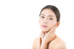 Belle fille avec le maquillage, femme et concept de cosmétiques de soins de la peau Images libres de droits