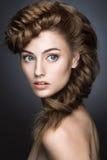 Belle fille avec le maquillage léger, peau parfaite Photographie stock