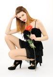 Belle fille avec le pavot Photographie stock