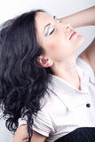 Belle fille avec le renivellement Photographie stock libre de droits