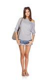 Belle fille avec le sac à dos d'été Images libres de droits